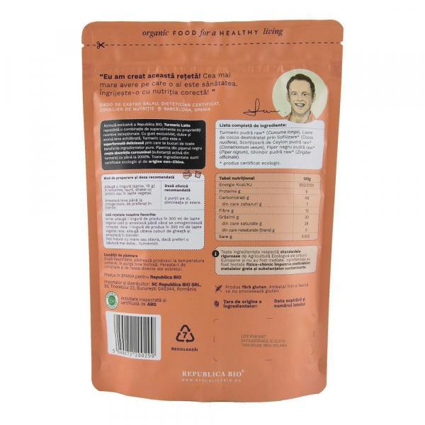 Turmeric Latte, pulbere functionala ecologica Republica BIO - 200 g 1