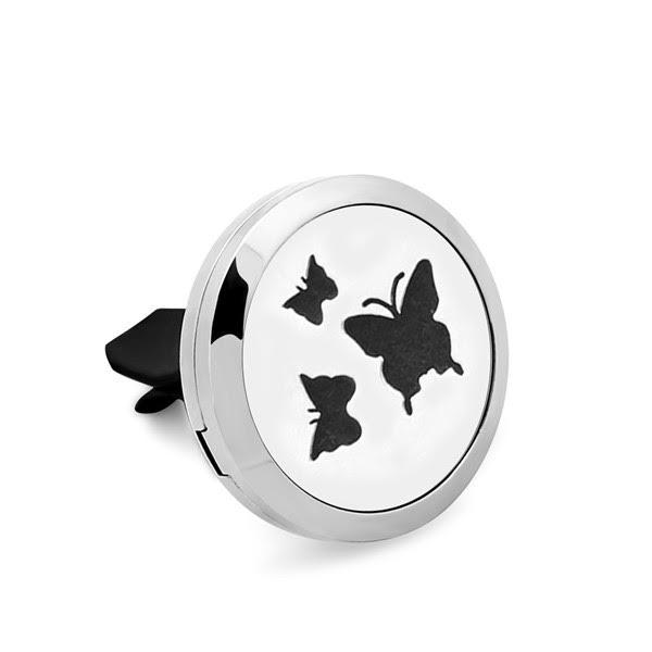 Difuzor auto 3.8 cm pentru uleiuri esentiale argintiu Naturall - model cu Fluturi 1