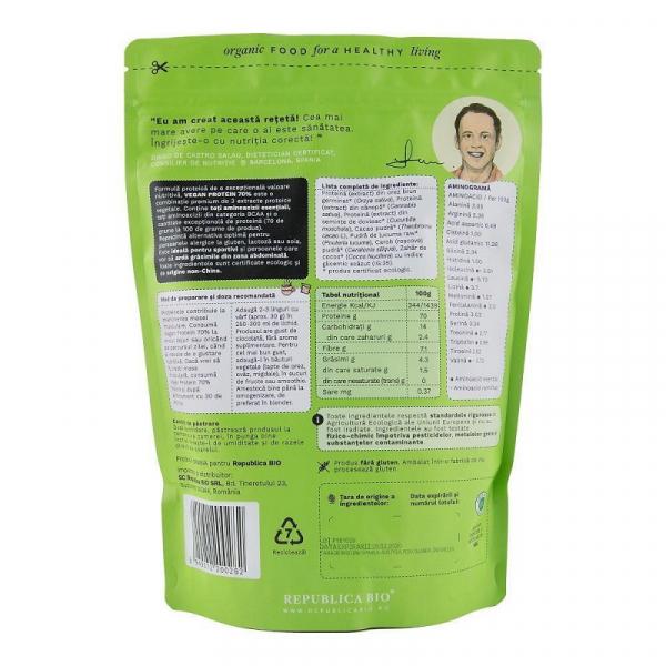 Vegan Protein 70% - pulbere proteica ecologica 600g - Republica BIO 1