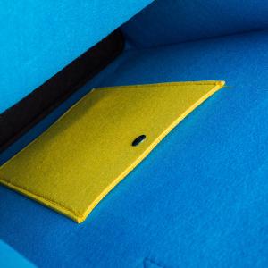 Geanta din fetru galben-bleu cu buzunare CuteBag1