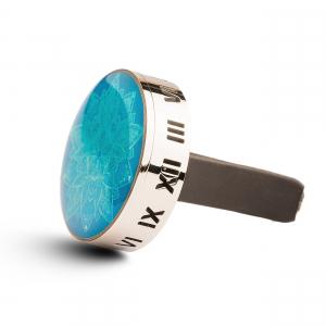 Difuzor auto 3 cm pentru uleiuri esentiale argintiu ZaZa- model Blue Flower, geometrie sacra din inox1