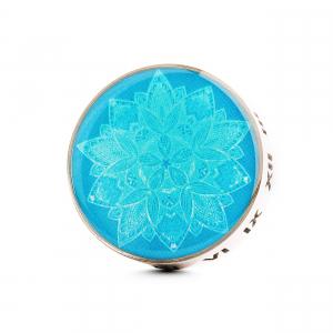 Difuzor auto 3 cm pentru uleiuri esentiale argintiu ZaZa- model Blue Flower, geometrie sacra din inox0