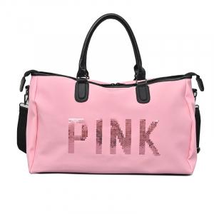 Geanta sport pentru plaja, roz cu negru Pink rezistenta la apa!0