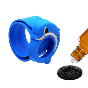 Bratara din silicon pentru aromaterapie tip slap-band cu model delfin, insert lava stone, albastra, Naturall! 1