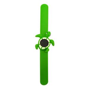 Bratara din silicon pentru aromaterapie tip slap-band cu model broasca-testoasa, insert lava stone, verde, Naturall!2