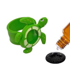Bratara din silicon pentru aromaterapie tip slap-band cu model broasca-testoasa, insert lava stone, verde, Naturall!