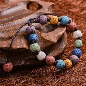 Bratara lava stone pentru mana sau picior, reglabila, pentru uleiuri esentiale  Naturall0
