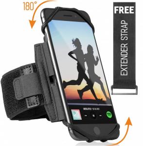 Bratara Premium de alergare pentru orice telefon: iPhone X XR XS Max 8 Plus 7 Plus 6, Samsung Galaxy A8 S9 S8 S6 Edge, LG, HTC, Pixel; Carcasă universală rotativă 180 ° + Curea extensibilă gratuită