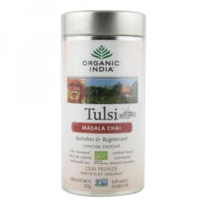 Ceai Tulsi (Busuioc Sfant) Masala Chai 100g Organic India - Antistres & Regenerant0