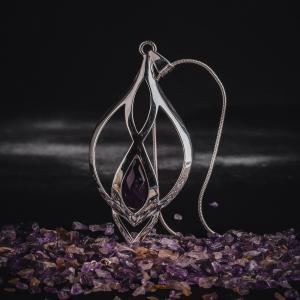 Colier si lant din inox, suflate cu argint Infinity Amethyst by ZaZa1