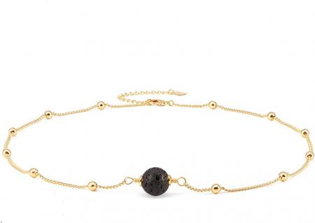 SET colier si bratara Zaza pentru uleiuri esentiale cu lava stone, placat cu aur de 18K [4]