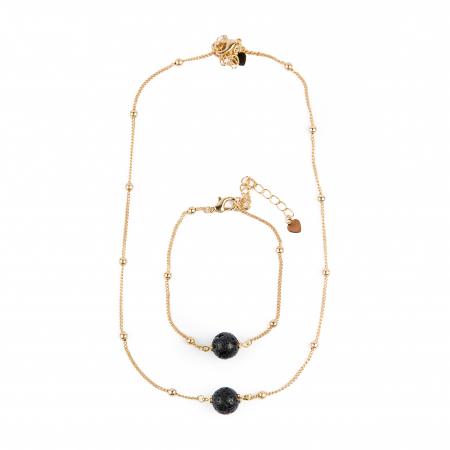 SET colier si bratara Zaza pentru uleiuri esentiale cu lava stone, placat cu aur de 18K [1]
