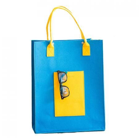 Geanta din fetru galben-bleu cu buzunare CuteBag0