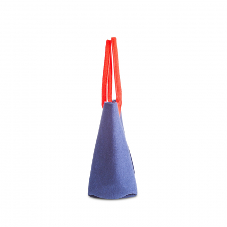 Geanta fetru mica albastru inchis cu manere rosii CuteBag [2]