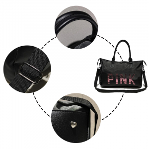 Geanta sport pentru plaja, roz cu negru Pink rezistenta la apa!4