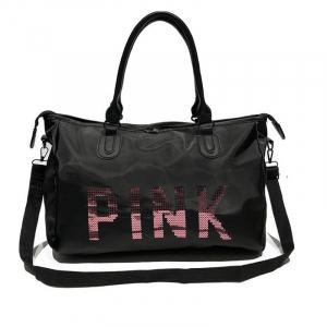 Geanta sport pentru plaja, roz cu negru Pink rezistenta la apa!3