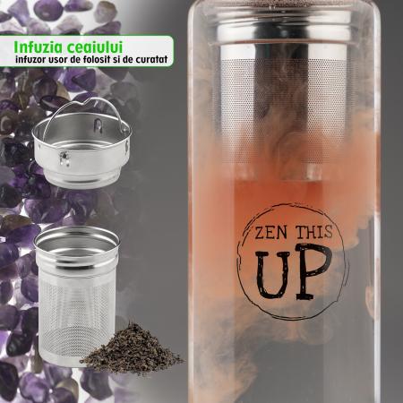 Sticla Cristale Naturale Ametist cu Capac Inox, ZenThisUp, 500 ml, pentru apa, ceai, sucuri, Husa Protectie cu Maner [5]
