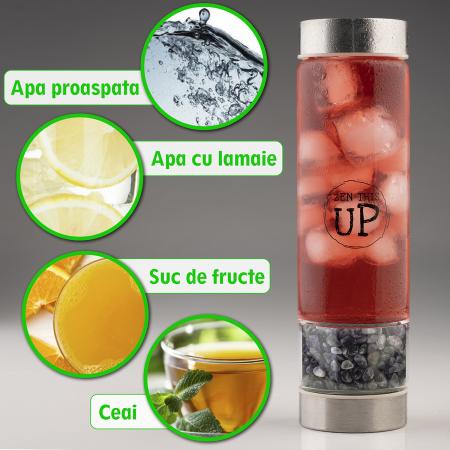 Sticla Cristale Naturale Ametist cu Capac Inox, ZenThisUp, 500 ml, pentru apa, ceai, sucuri, Husa Protectie cu Maner [4]