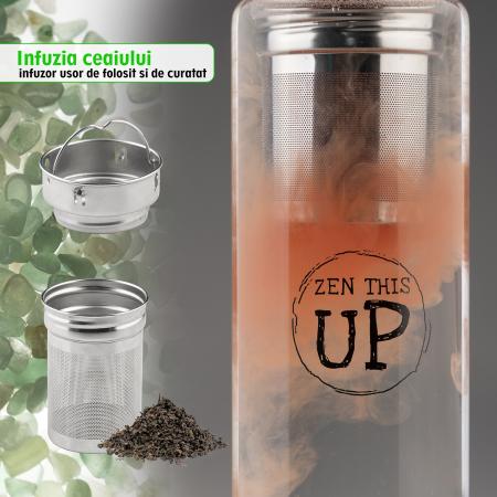 Sticla Cristale Naturale Green Aventurine cu Capac Inox, ZenThisUp, 500 ml, pentru apa, ceai, sucuri, Infuzor Inox, Husa Protectie cu Maner [5]