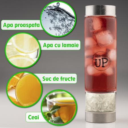 Sticla Cristale Naturale Quartz Alb cu Capac Inox, ZenThisUp, 500 ml, pentru apa, ceai, sucuri, Infuzor Inox, Husa Protectie cu Maner [4]