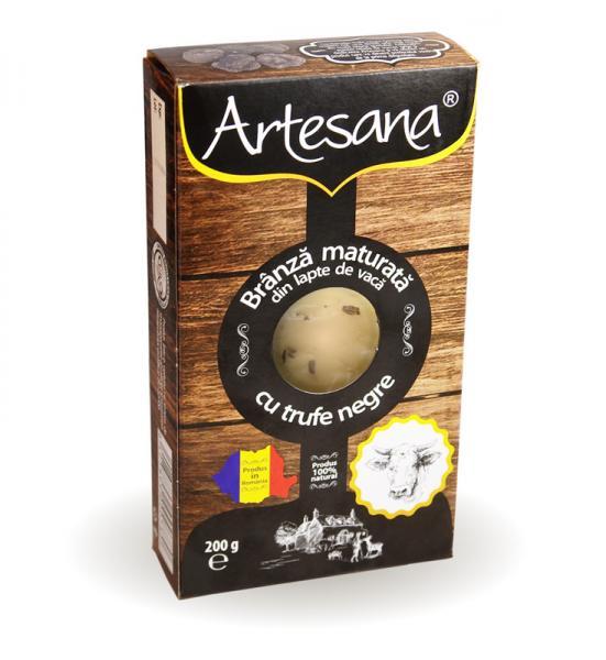 Branza maturata de vaca cu trufe negre 200g - Artesana 0