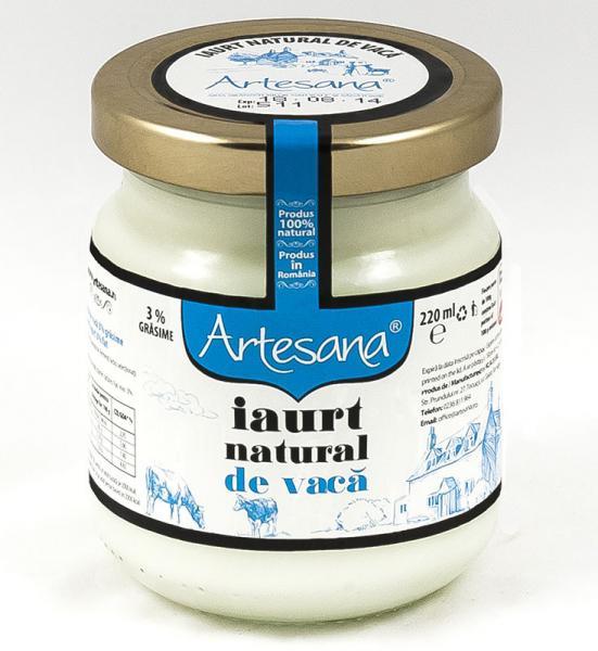 Iaurt natural de vaca - borcan de sticla 220ml - Artesana [0]