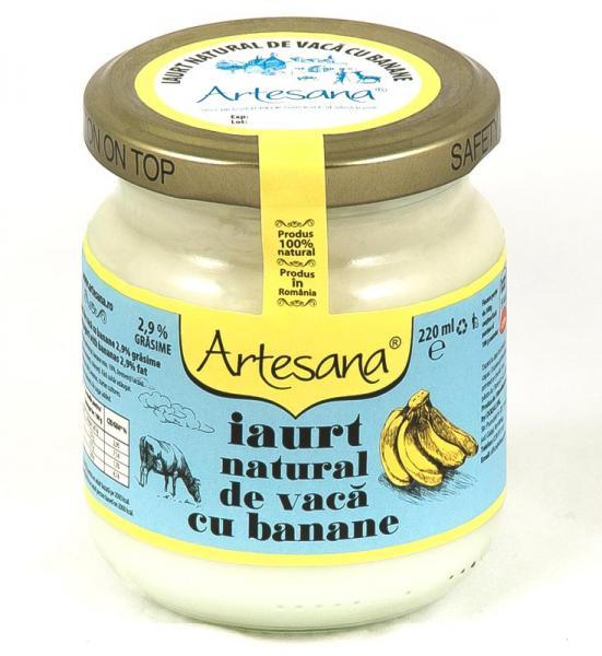 Iaurt natural de vaca cu banane  - borcan de sticla 220ml - Artesana 0