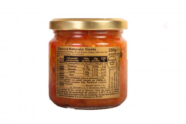 Zacusca naturala de vinete - fara adaos de zahar- 200g 1