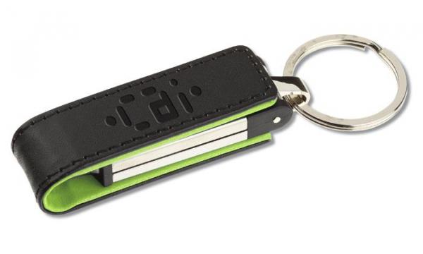 Stick USB din metal, cu clapetă din piele 0