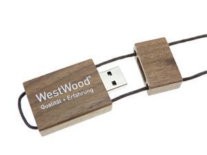 Stick USB personalizat din lemn, cu șnur 2