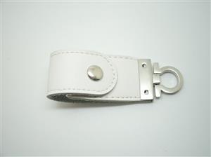 Stick USB personalizat din piele albă 4