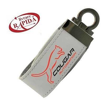 Stick USB personalizat din piele albă 0