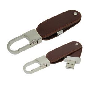 Stick USB Swivel din piele, cu agățătoare metalică 2