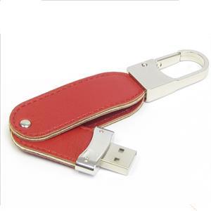 Stick USB Swivel din piele, cu agățătoare metalică 1