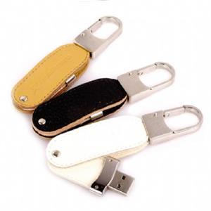 Stick USB Swivel din piele, cu agățătoare metalică 4