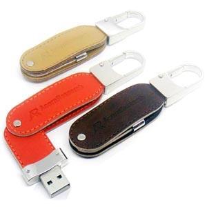 Stick USB Swivel din piele, cu agățătoare metalică 5