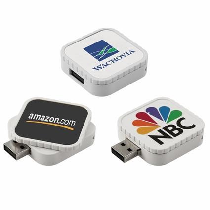 Stick USB swivel personalizat, formă pătrată 0