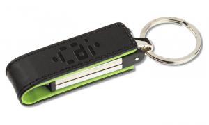 Stick USB din metal, cu clapetă din piele0