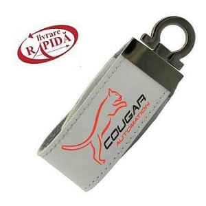 Stick USB personalizat din piele albă0