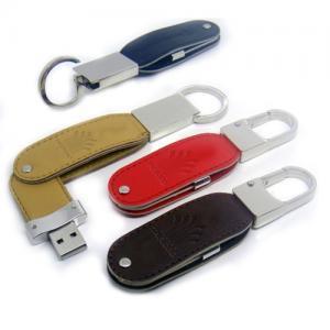 Stick USB Swivel din piele, cu agățătoare metalică3