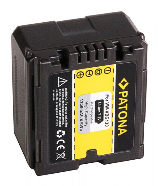 Acumulator Patona pentru Panasonic VW-VBG130 HDC HDCDX1 HDC-DX1 HDCDX1EGS HDC-DX1EG-S 2