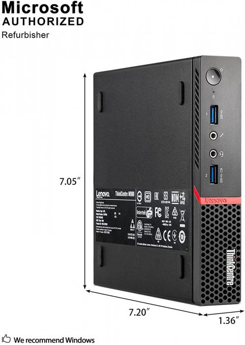 Calculator REFURBISHED Lenovo ThinkCentre M900 Mini PC, Intel Core i5-6500T 2.50GHz, 8GB DDR4, 180 SSD, Win 10 PRO [2]