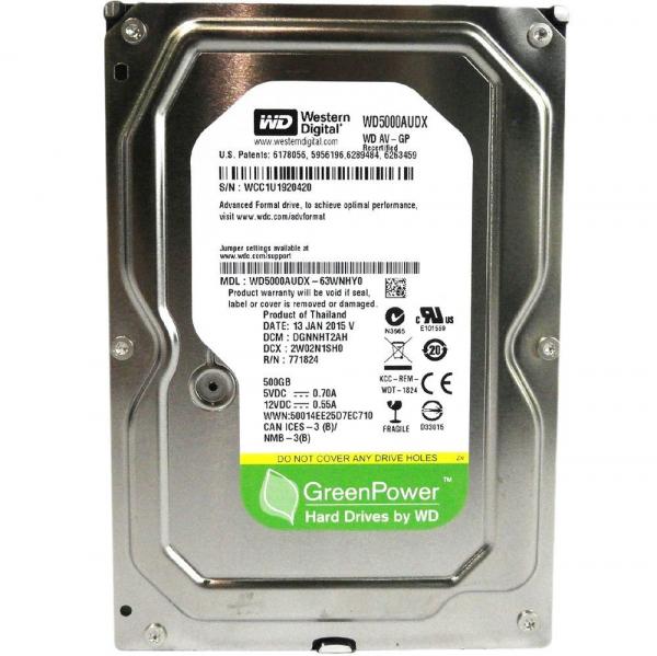 "HDD Western Digital, 3.5"" , 500GB, 5400RPM, 32MB, WD500AUDX 0"