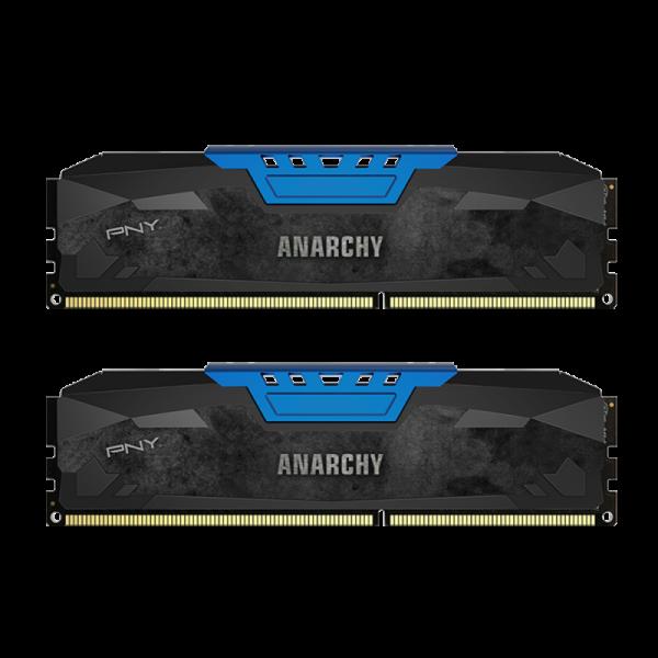 Memorie desktop PNY Anarchy 8GB Kit (2x4GB) PC4-19200 2400MHz CL15 DDR4 Albastru DIMM 1