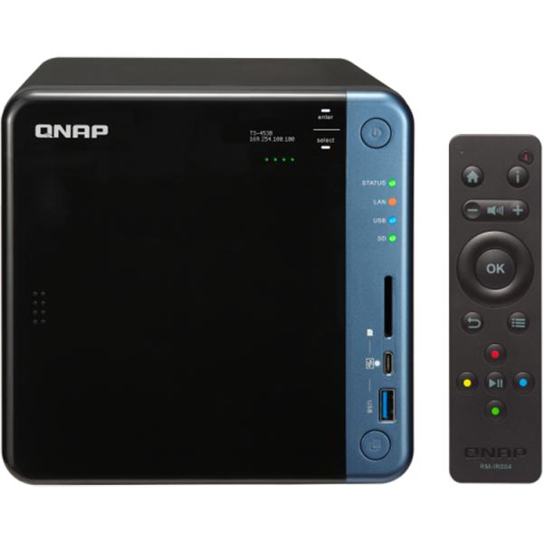 NAS Qnap TS-453B, Intel Celeron J3455 1.5GHz, 8GB DDR3L, 4 Bay, 5 x USB 3.0, 1 x USB Tip C, 2 x LAN, 2 x HDMI 0