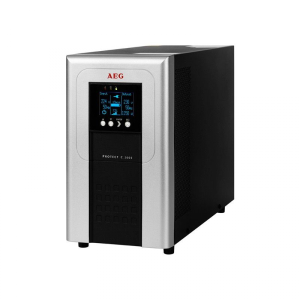 UPS AEG Protect C 2000VA / 1800W, Online Dubla Conversie, Afisaj LCD, intrare 110-300V, Repornire automata, Management, RS232, USB, EPO, ECO Mode 0
