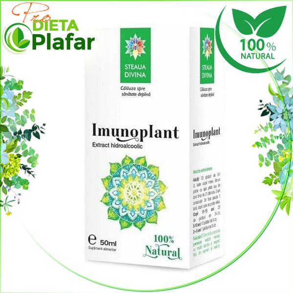 Imunoplant extract hidroalcoolic stimuleaza capacitatea de autoaparare a organismului. Are efect antiinflamator, antiviral, antimicrobian.