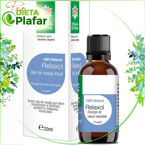 Relaxol ulei de masaj tratament pentru crampe musculare, suprasolicitare musculară ce rezultă în urma eforturilor fizice intense, febră musculară.