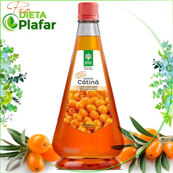 Siop de cătină cu extract din frunze de stevia pentru îndulcire fără calorii pret 250 ml