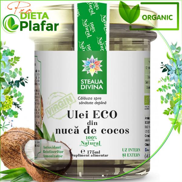 Ulei de cocos BIO = ECO = Organic.Compozitie:Ulei ecologic din nuca de cocos (Cocos nucifera) 100%, presat la rece.